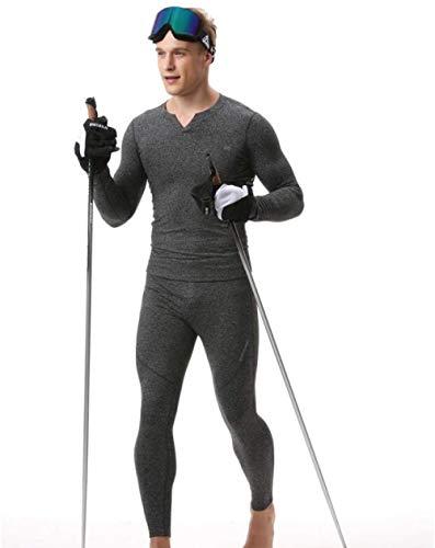 WYYH Ropa Invierno Hombre,Conjuntos Térmicos para Transpirable Interior Térmica Conjunto Secado Rápido Camiseta Térmica Manga Larga Pantalones Largos para Carrera Esquí y Fitness