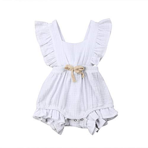 Carolilly Jumpsuit für Babys, Mädchen, Sommer, ohne Ärmel, schick, mit Rüschen, aus Baumwolle, Kleidung für Kinder von 0 – 24 Monaten Gr. 6-12 Monate , weiß