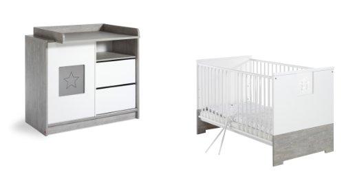 Schardt 105802200 Sparset Eco Star, bestehend aus Kombi-Kinderbett und Wickelkommode