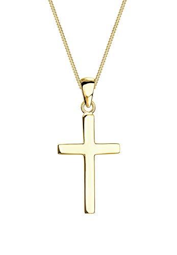 Elli PREMIUM Halskette Damen Kreuz Klassisch Glaube Religion in 375 Gelbgold