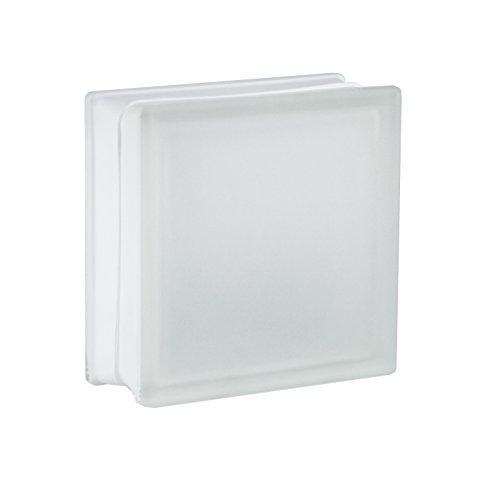 5 Stück FUCHS Glassteine Riva Weiß 2-seitig satiniert (Milchglas) 19x19x8 cm
