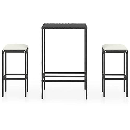 vidaXL Tavolo da giardino da 3 pezzi, con cuscino, tavolino da bar, bancone, tavolo da bar, sgabelli da bar e mobili da giardino, in polyrattan nero