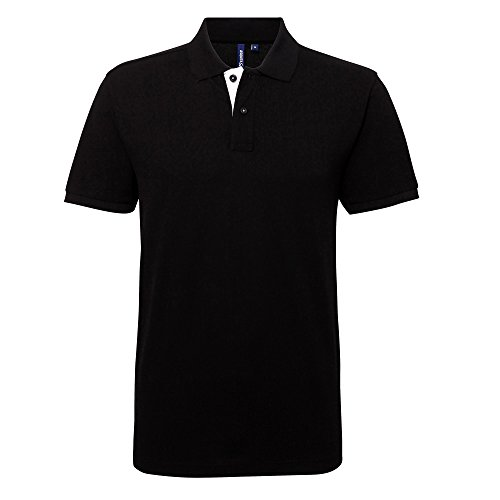 Asquith & Fox Asquith and Fox Men's Classic Fit Contrast Polo, Multicolore (Black/White 000), Medium Homme