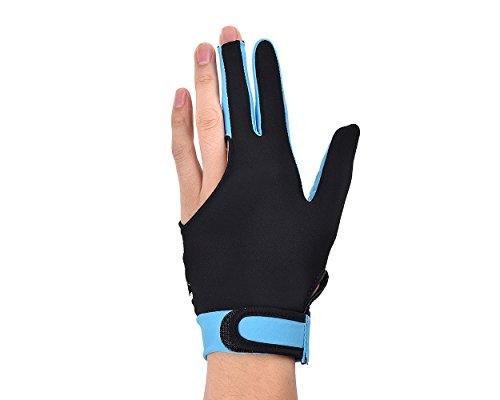 DSstyles 1 Stück Elastischen Lycra 3 Finger Pool und Billard Handschuh Mann Frau Dehnbar mit DREI Fingern Snooker Handschuh - Himmelblau (Gr. M, kann am rechten oder linken Hand getragen Werden)