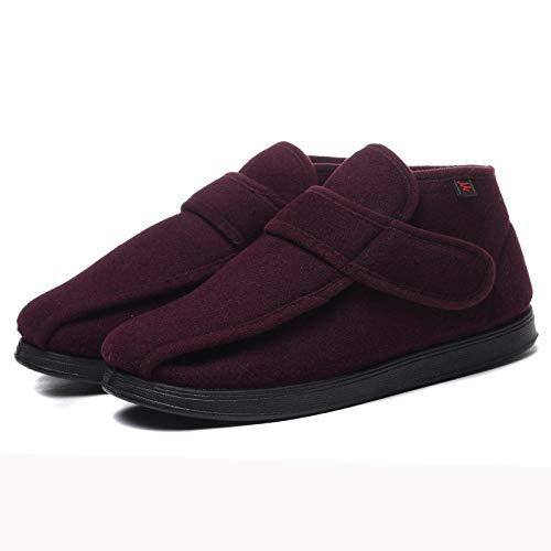Zapatos para diabéticos ortopédicos,Calzado para pie diabético de ensanchamiento Medio-Alto, Pulgar en valgo, deformidad, Gordo y Ancho-Burdeos_46