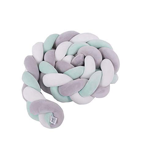 HB.YE - Cojín trenzado 100% hecho a mano para parachoques o nudos Gray&White&Mint Green Talla:200cm