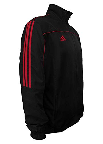 adidas Martial Arts 3-Stripes Light Tracksuit 100% Polyester Long Sleeve Jacket - Black Red - Large