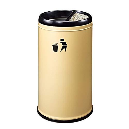 LICHUAN Papelera para exteriores con cenicero redondo de acero inoxidable para reciclar cubos de basura sin tapa para el hogar, oficina, cocina, gran capacidad (color albaricoque)