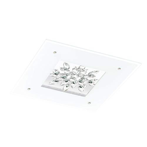Eglo plafonnier LED 24W modèle benalua Blanc/Transparent/Cristal 93574 e