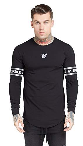 Sik Silk de los Hombres Camiseta de Gimnasio de Marca de Manga Larga, Negro, XS