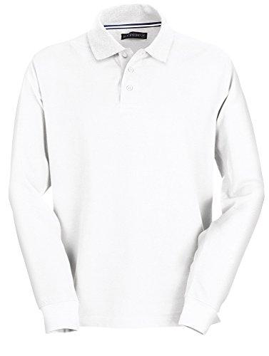 PAYPER, Polo da uomo, a maniche lunghe, 100% cotone, 3Bottoni bianco XL