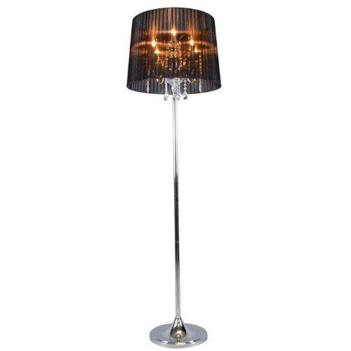 QAZQA Klassisch/Antik/Landhaus/Vintage/Rustikal Klassische Stehlampe Chrom mit schwarzem Schirm - Ann-Kathrin 5 / Innenbeleuchtung/Wohnzimmerlampe/Schlafzimmer Glas/Metall/Textil Rund/Lä