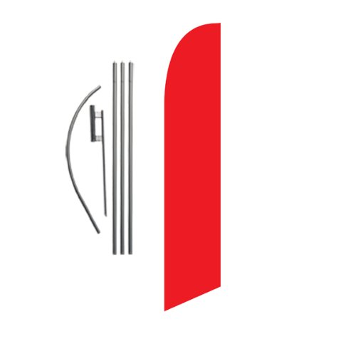 Solid Red 15ft Feather Banner Swooper Flag Kit - Includes 15FT Pole KIT w/Ground Spike