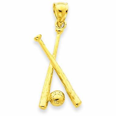 Kleine Schätze - 14 Karat poliertem Gold Offen-gesichert Schläger & Ball Baseball-Anhänger Halskette (Kommt mit Eine 45 cm Kette)