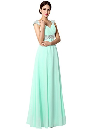 Sarahbridal Juniors Long Prom Dress Chiffon Beaded Sequin Bridesmaid Gowns with Cap Sleeve Mint US4