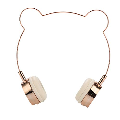 SOMOTOR Bluetooth Headphones Over Ear Wireless Panda Headphone Wireless Headset, Bear Ear, Cute and Fashionable Style Rose Gold Built-in Mic, for Girls