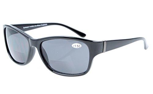 Eyekepper Sonne Leser Kunststoffrahmen Runde Bifokale Sonnenbrillen Schwarz Rahmen Grau Linsen +1.50
