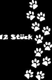 12x Hundepfoten Aufkleber Größe und Farbe frei wählbar (Weiß, 5cm x 5cm)