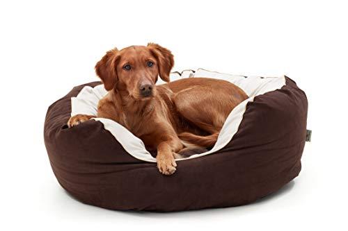 Woofery - Hundebett Dorie – rutschfest mit Reißverschluss 80 cm Schoko/Beige