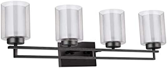 TENGXIN 4 Lights Bathroom Vanity Wall Lamp with Glass Shade in Oil Rubbed Bronze,Up/Down Interior Wall Lamp,UL Listed