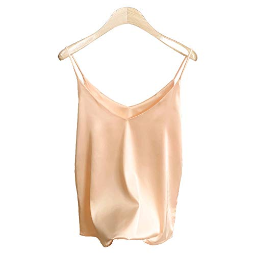 Van Royal Womens Camisole Tops Tees Tank Ladies Cami Tops Soft Satin Sexy V Neck Crop Top Elegant (M, Champagne)