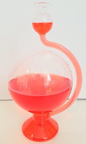 Barometer antiker Stil rund Wetterstation rund aus Glas zum hinstellen mit Wetterscala außen befüllt mit rotem destilliertem Wasser Messinstrument Goethe Barometer Größe ca. 11,5 x 20 cm Oberstdorfer Glashütte
