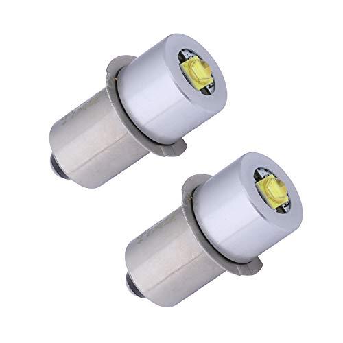 TRLIFE Maglite Ersatzlampen, 2 Stück Maglite LED Umrüstsatz 3W 3V LED Taschenlampe Birne P13.5S PR2 Maglite LED Lampe für 2 Zellen C&D Maglite Taschenlampe Scheinwerfer