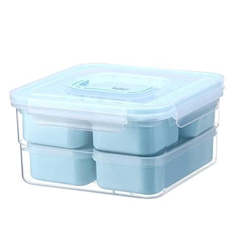 WSYGHP Juego de 2 recipientes de almacenamiento de alimentos con tapas, multidivisión, a prueba de fugas para congelador, lavavajillas, caja de bento verde (color: azul, tamaño: 1 unidad)