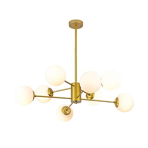 WYBW Candelabro, candelabro de burbuja de vidrio de mediados de siglo, luz colgante Sputnik de 6 luces, iluminación colgante ajustable E27, luz de techo industrial tipo rama/accesorio de lámpara pa