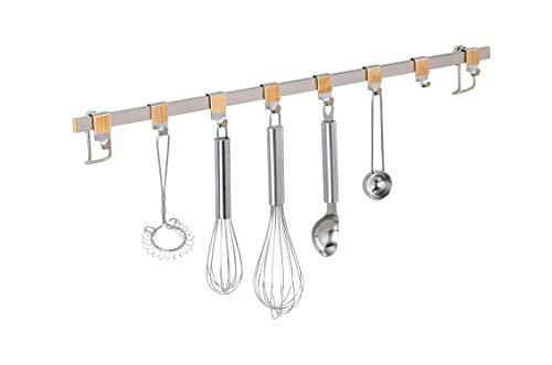 Wenko 54807100 Hakenleiste Premium mit 8x Haken-Wandleiste, Küchen-Reling, Metall vernickelt, 60 x 4 x 2,5 cm, silber matt