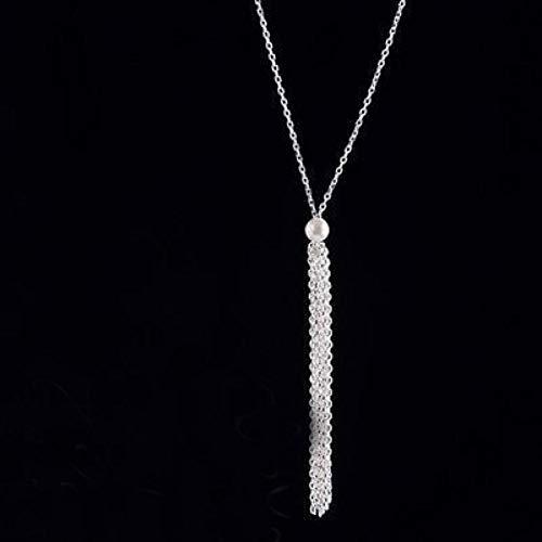 Likass - Colgante de plata de ley 925, regalo de joyería para esposa, madre y novia, collar de novia para dama de honor, joyería de cumpleaños, regalo de Año Nuevo, cadena de clavícula con flecos sexy.