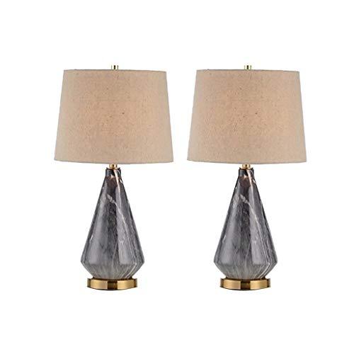 Lampara Mesa Mesilla de noche de la lámpara de noche americana lámpara de mesa de cerámica color básico de la tela de la lámpara for la sala de estar, oficina Duradero (Color : Black)