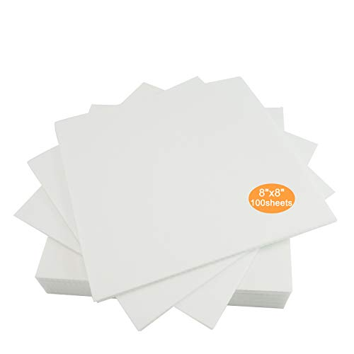 """New brothread Cut Away Machine Embroidery Stabilizer Backing 8""""x8"""" - 100 Precut Sheets - Medium Weight 2.5 Ounce - Fits 4x4 and 6x6 Hoops"""