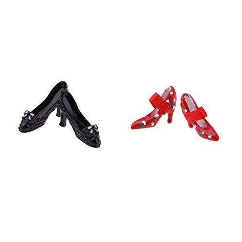 B Baosity 2 Paires Chaussures à Talons Hauts Sandales Accessoire pour Maison de Poupée 1/12 Rouge