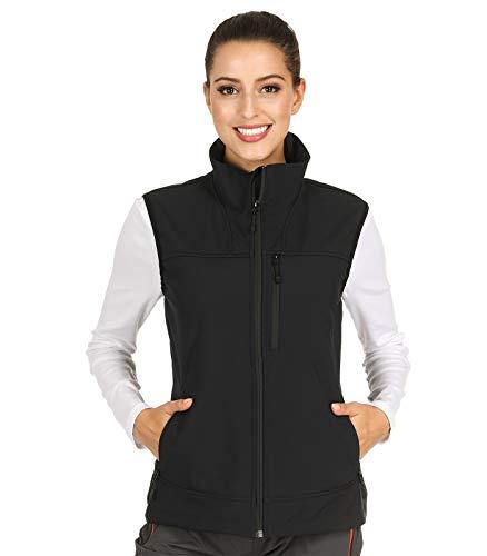 MIER Women's Lightweight Softshell Vest Front-Zip Outdoor Water-Resistant Vest with 7 Pockets, Fleece Lined, Black, XL