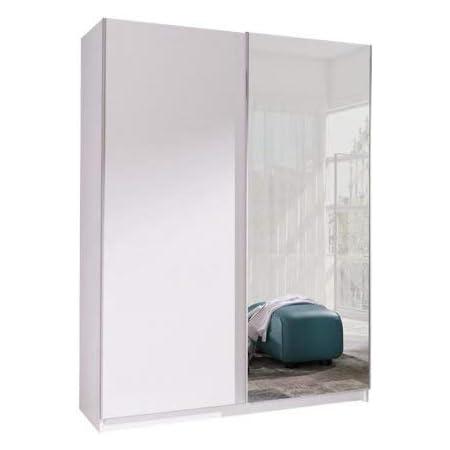 Armoire, Penderie avec étagères et 2 Portes coulissantes (L x H x P): 150x206x62 cm (ADA2: Blanc Mat + Miroir)