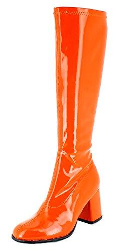 Das Kostümland Gogo Damen Retro Lackstiefel - Orange Gr. 39 - Tolle Schuhe zur 70er 80er Jahre Disco Hippie Mottoparty