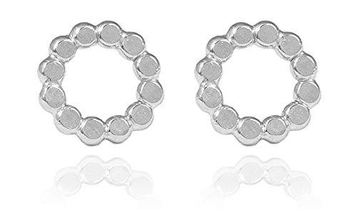 Charlotte Wooning - Pendientes de plata para mujer, perlas planas, pequeñas, redondos, martillado, círculo abierto, plata 925 EFPSg