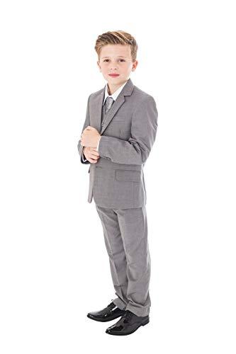 V.C. Festlicher Jungen Anzug Hochzeit Kinderanzug Kommunionsanzug 5-teilig grau 134