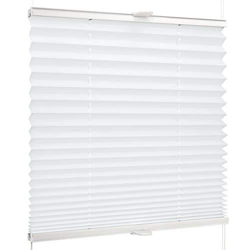 SchattenFreude Basic Klemmfix-Plissee für Fenster | Mit Klemm-Haltern | Ohne Bohren | Reinweiß, Breite: 130cm x Höhe: 130cm
