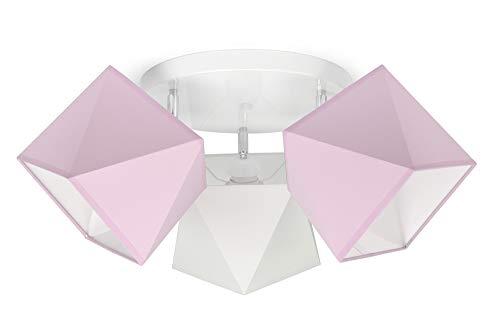 FKL Deckenleuchte Deckenlampe Kinderleuchte Kinderlampe Leuchte Lampe Mehrfarbig Stern Metall 230V 299 300 G3 (299-G3 Glatt, Rosa-Weiß-Rosa)