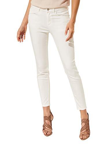 comma Damen Pants aus matt glänzendem Satin White 44