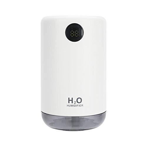 ZYYC 2000mAh Batería Humidificador ultrasónico H2O Portátil 500ML Heavy Fog Mist Maker USB Aroma Difusor Humidificador de Aire con Pantalla LED-Blanco