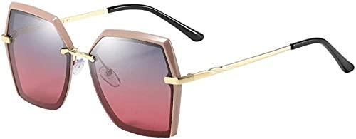 Gafas de sol polarizadas para mujer con marco polígono para exteriores, protección UV400, lente azul y rojo degradado (color: oro)