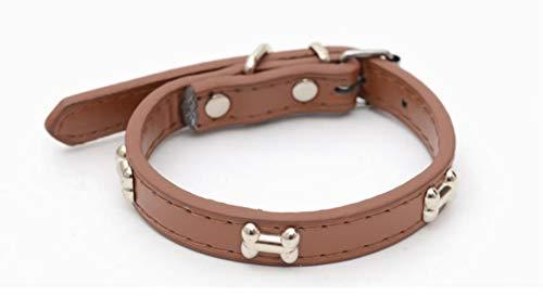 Qingsb Hondenhalsband PU-leer Gepersonaliseerde halsband Verstelbare kleine en middelgrote op maat gemaakte halsband Hondenbenodigdheden voor huisdieren, Kafeise, 2X45 CM