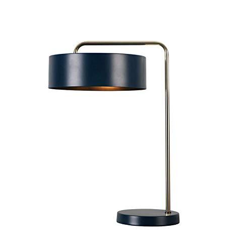Kaper Go Lámpara de mesita de noche Continental para dormitorio, creativa, retro, minimalista, de metal negro, lámpara de mesa decorativa, 1 base E14, 16 cm x 44,5 cm