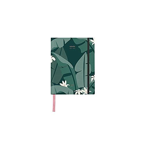 UO Agenda 2021 2022 Semana Vista TAMAÑO PEQUEÑO 13x16cm. Tropical. Papel 100gr, goma elástica, cinta registro raso, horarios semanales, 12 meses ilustrados.