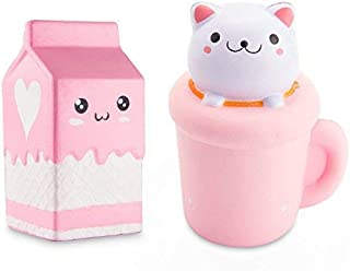 WATINC Jumbo 2pcs Animal Squishy Cat Cup & Milk Sweet Scented Vent Charms Kawaii Kid Toy Hand Wrist Toy Gift, Stress Relief Toy Lovely Toy, Fun Large