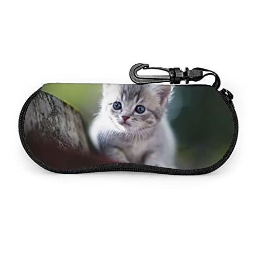 Yuanshan Custodia per occhiali da sole Cute Naughty Cat Custodia per occhiali da vista in neoprene ultraleggero, borsa morbida per occhiali con moschettone per donna e uomo