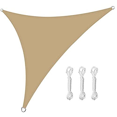Toldo triangular, 3 cuerdas, impermeable con bloque UV, para jardín, toldo para patios al aire libre (3 x 4 x 5 m, color amarillo arena)
